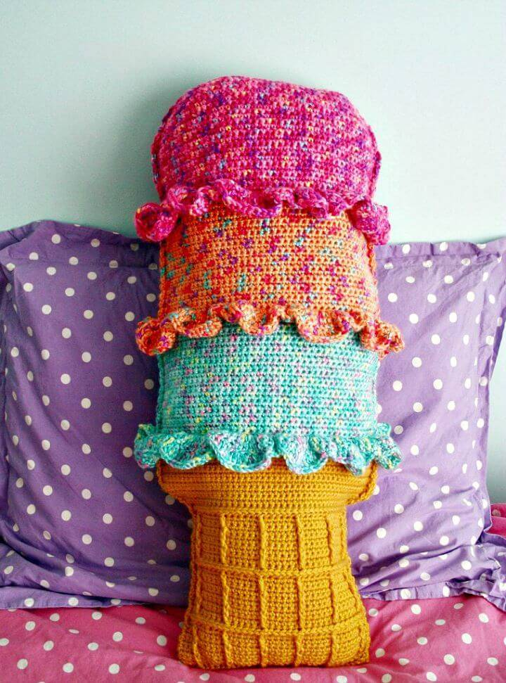 Crochet Rainbow Sherbet Throw Pillow - Free Pattern