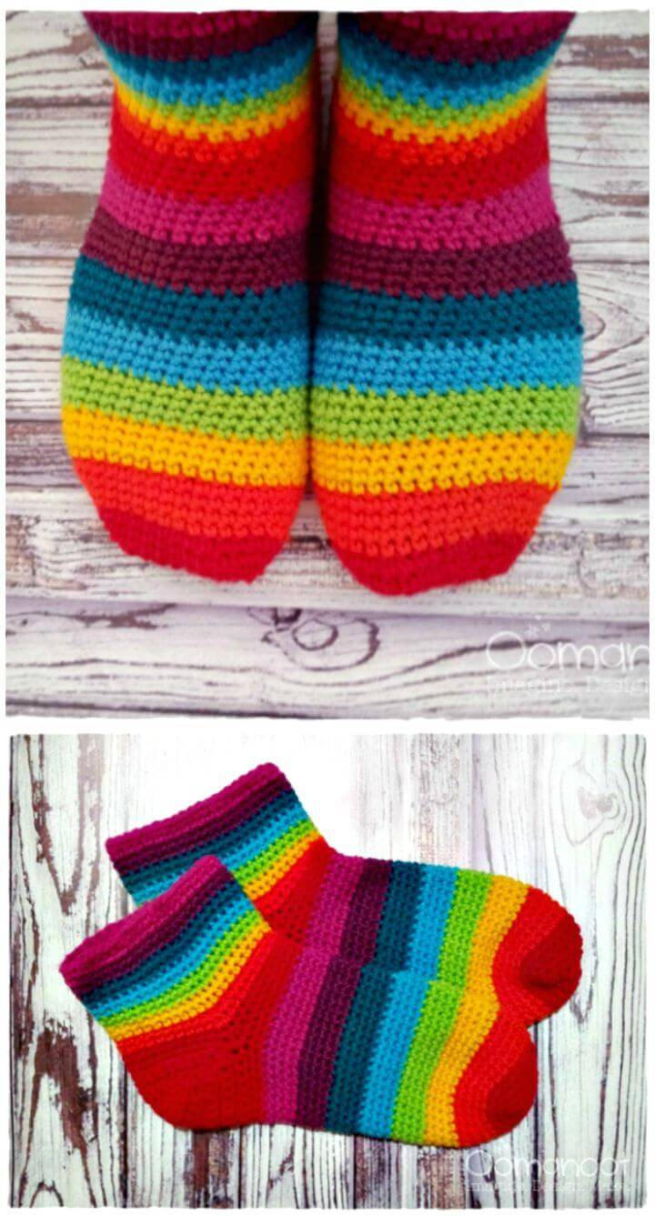 How To Crochet Rainbow Slipper Socks Tutorial