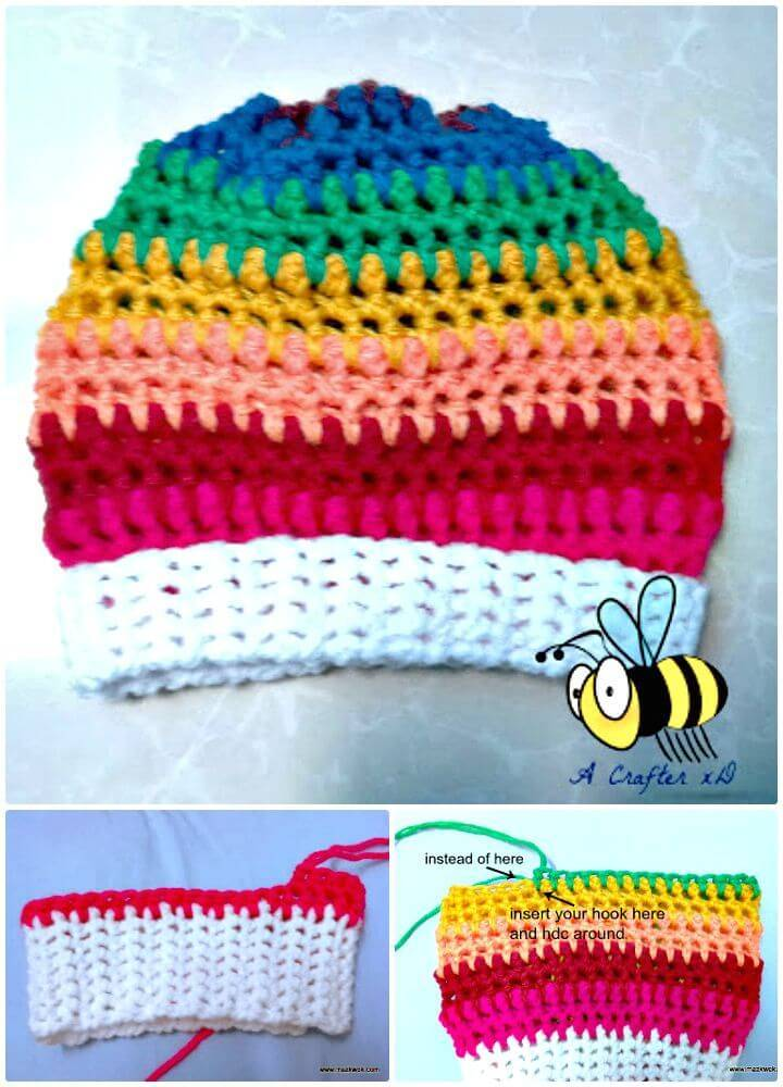 Crochet Rainbow Slouchy Hat Step By Step Free Pattern