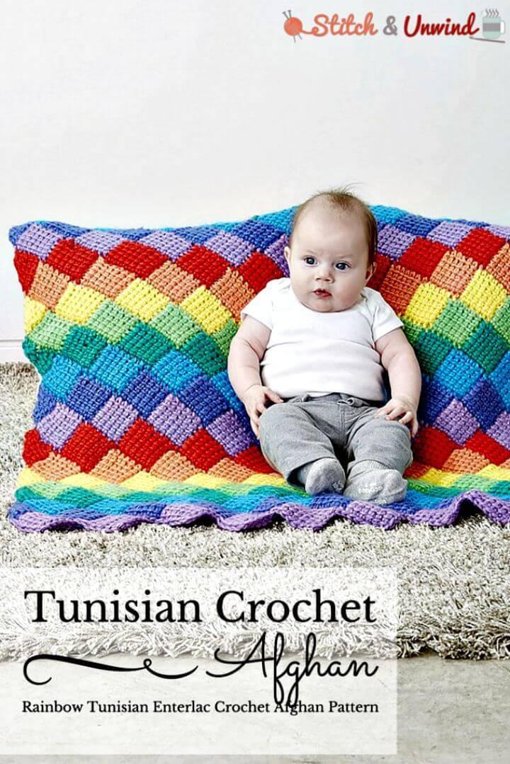 Crochet Rainbow Tunisian Entrelac - Free Afghan Pattern