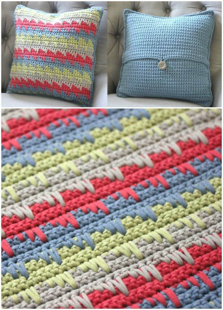 Free Crochet Reversible Spike Stitch Pillow Cover Pattern
