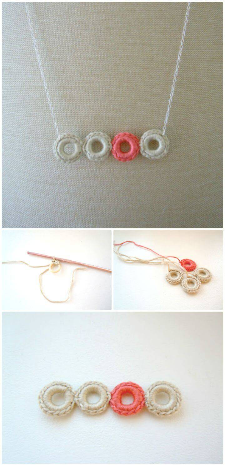Easy Free Crochet Ring Necklace Pattern+Tutorial