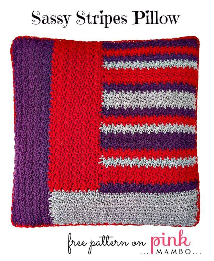 Crochet Sassy Stripes Pillow - Free Pattern