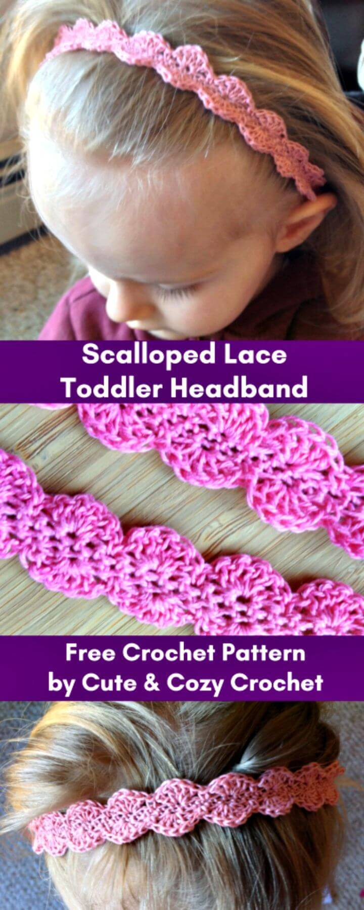 Easy Free Crochet Scalloped Lace Toddler Headband Pattern