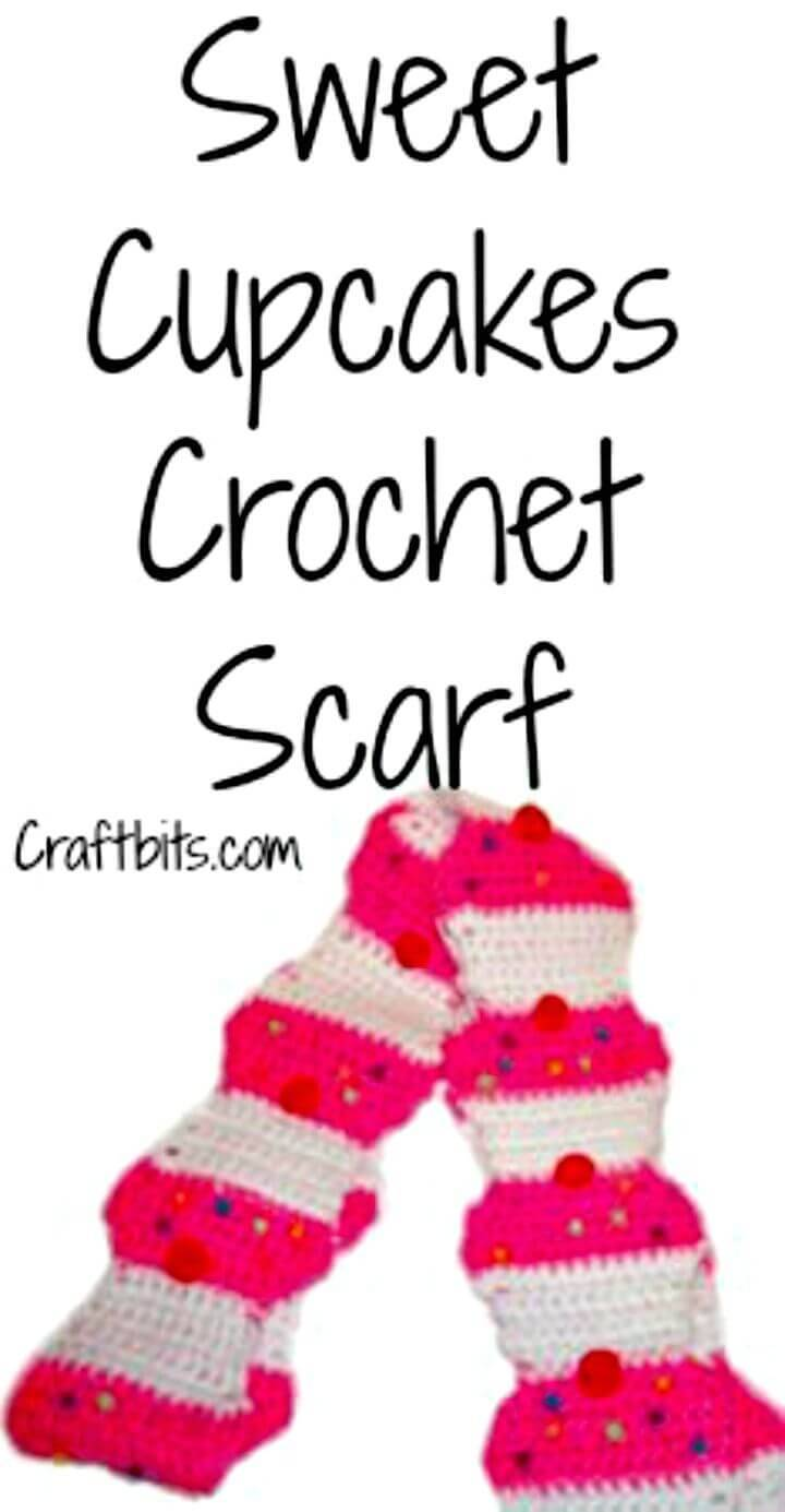 Crochet Scarf Sweet Cupcakes - Free Valentine Day Pattern