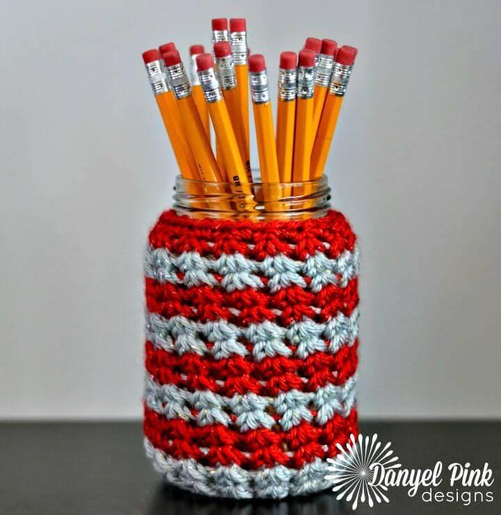 Free Crochet School Spirit Jar Cozy Pattern