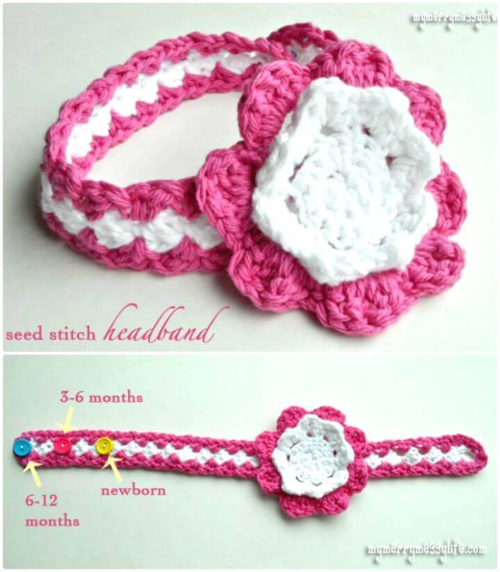 Free Crochet Seed Stitch Baby Headband Pattern