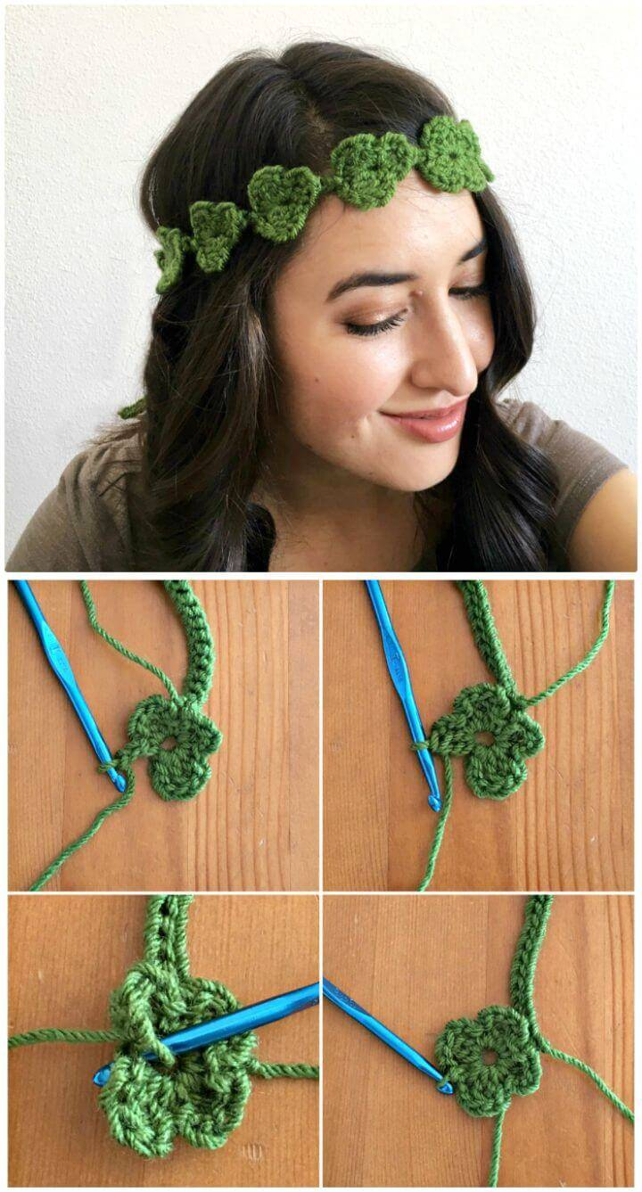 How To Free Crochet Shamrock Flower Crown Pattern