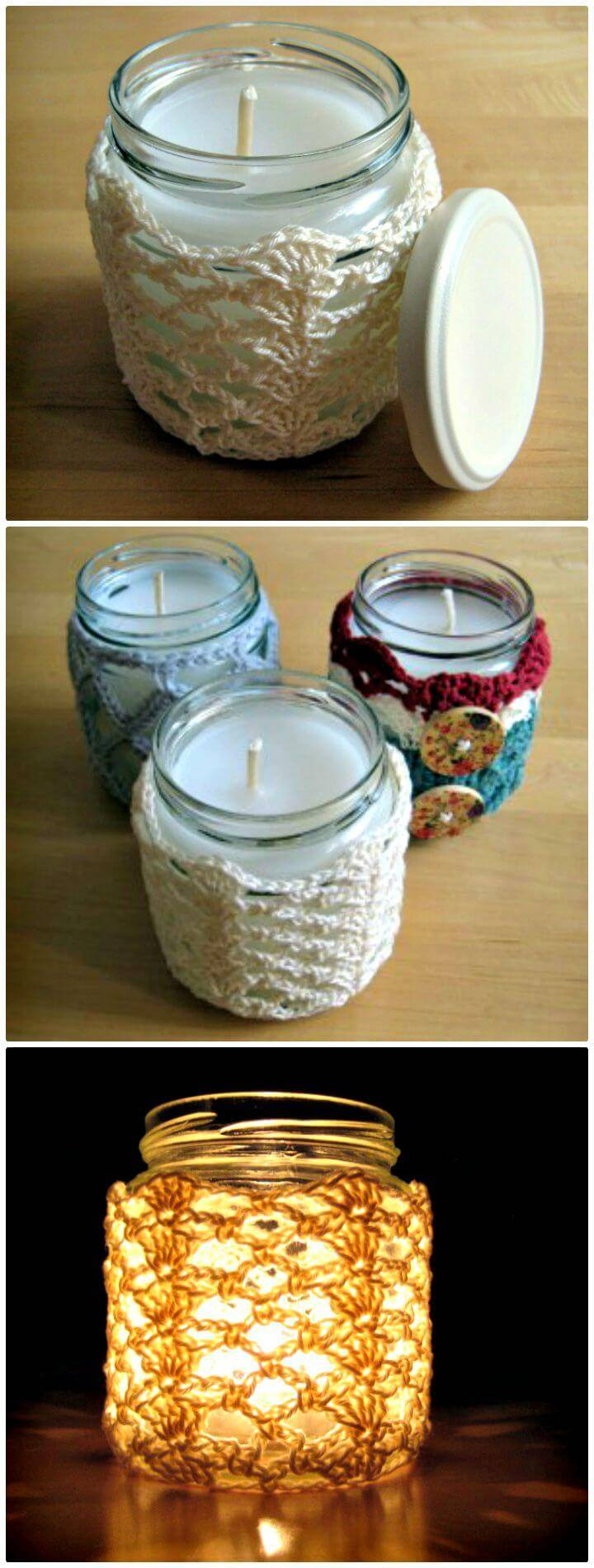 Easy Free Crochet Shells & Lace Jar Candle Cover Pattern