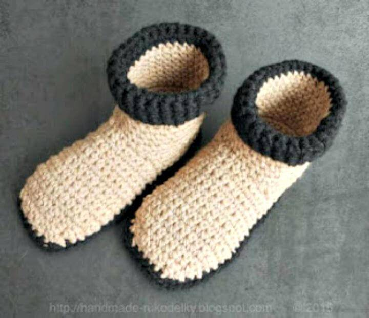 Easy Free Crochet Slippers Us Size 7-9 Pattern