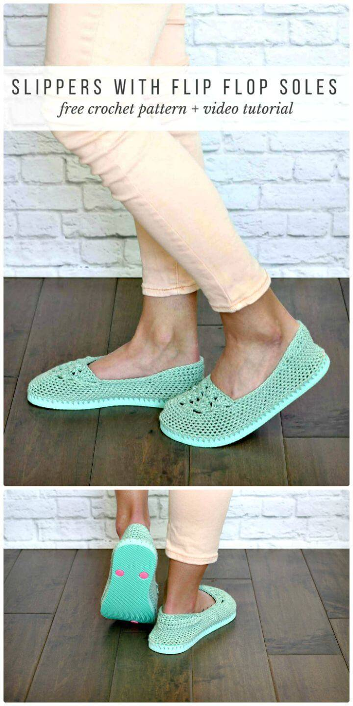Easy Crochet Slippers With Flip Flop Soles – Free Pattern And Video