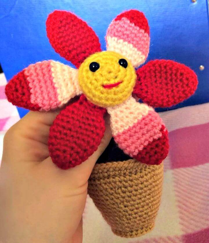How To Free Crochet Smiling Flower In A Pot Amigurumi Pattern