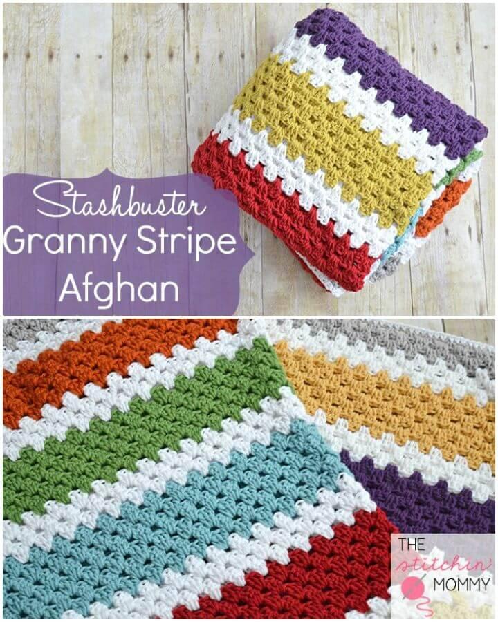 Easy Free Crochet Stashbuster Granny Stripe Afghan Pattern