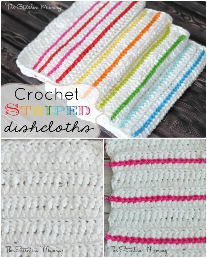 Free Crochet Striped Dishcloths Pattern