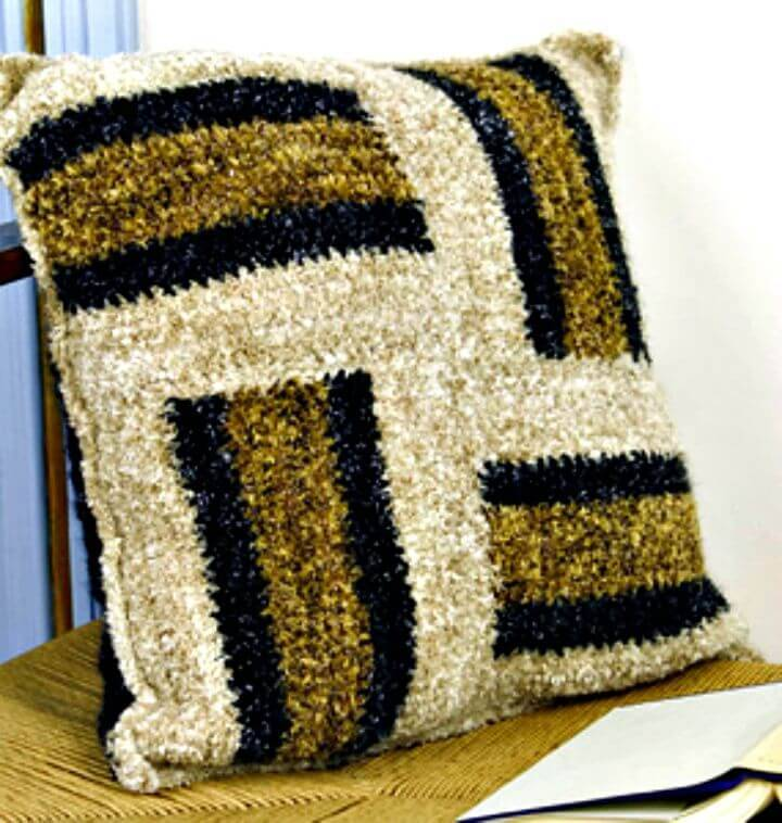 Free Crochet Striped Throw Pillow Pattern