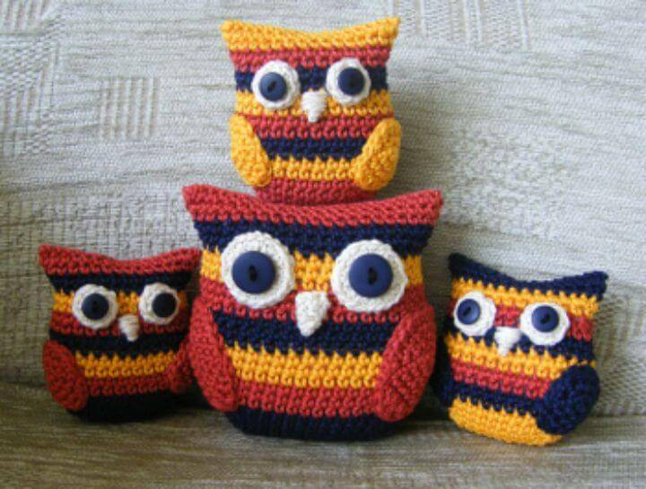 Easy Crochet Stripy Owl Family - Free Amigurumi Patterns