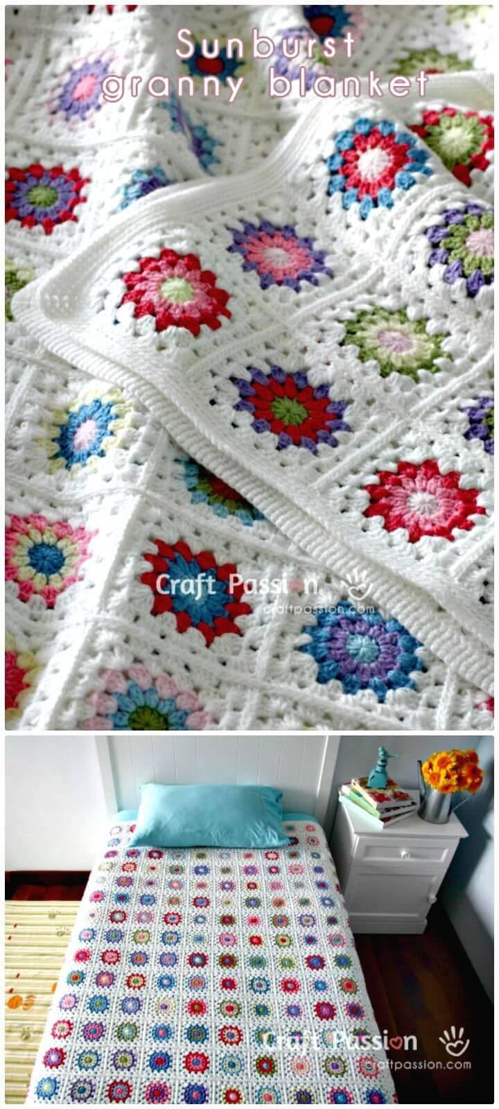 Häkeln Sie Sunburst Granny Square Blanket Pattern