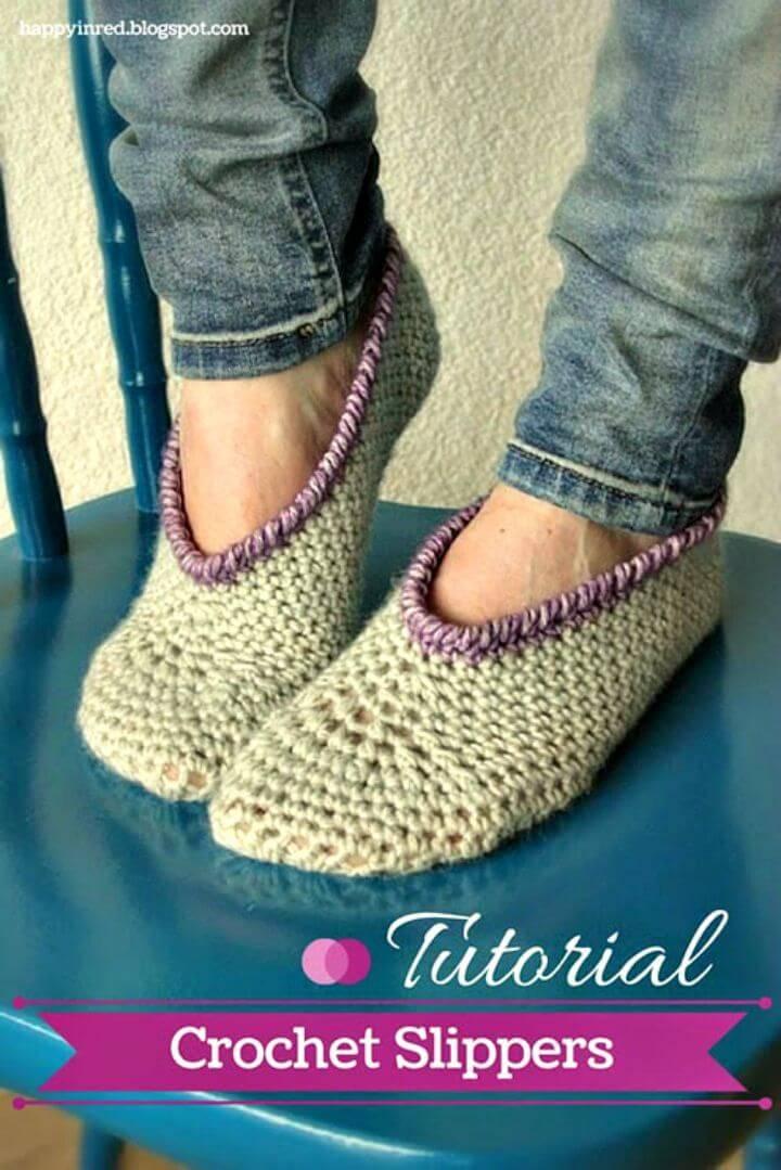 Super Easy Free Crochet Slippers Pattern
