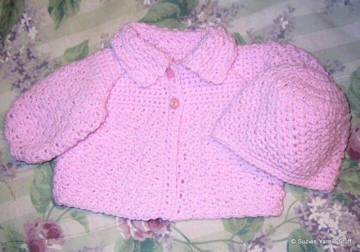 Easy Crochet Susie's Textured Baby Sweater – Free Pattern