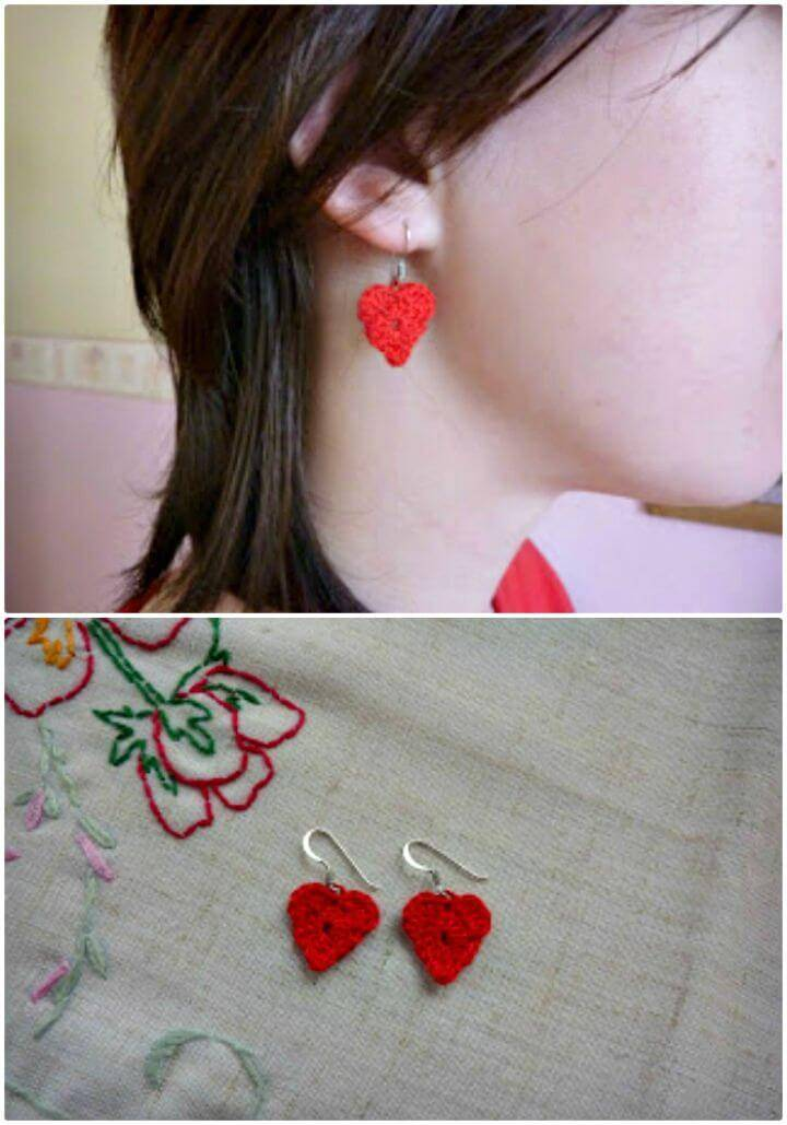 How To Free Crochet Sweetheart Earrings - Free Valentine Day Pattern