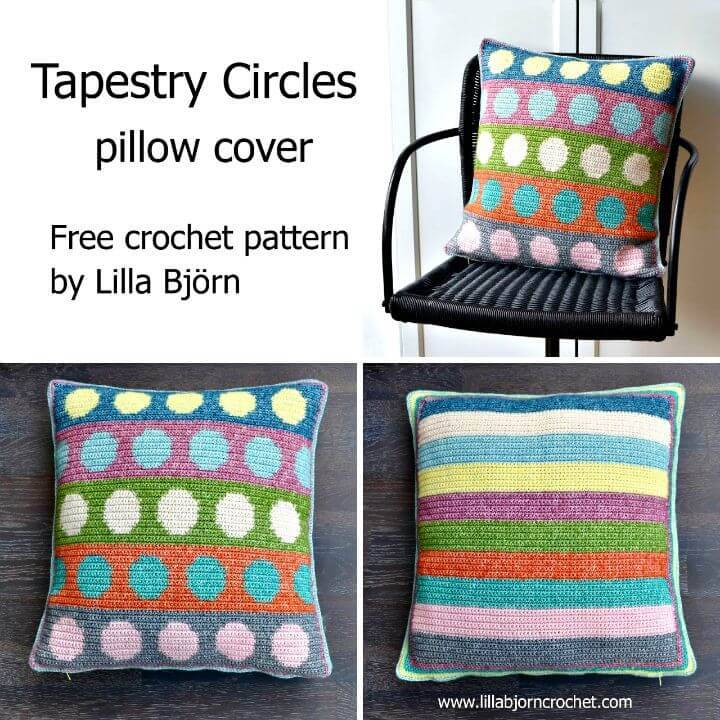 How To Crochet Tapestry Circles Pillow - Free Pattern