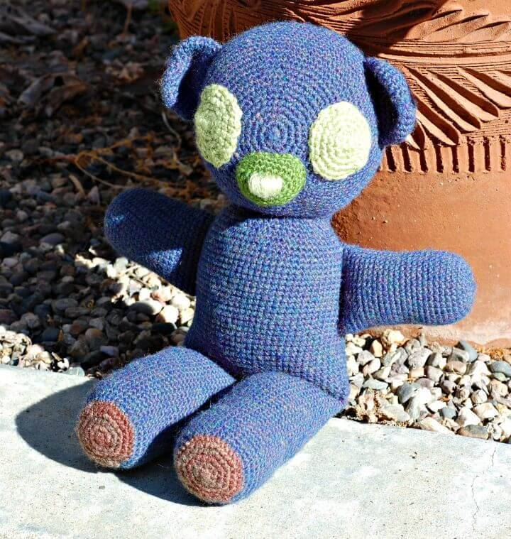 How To Crochet The Blue Teddy Bear - Free Pattern