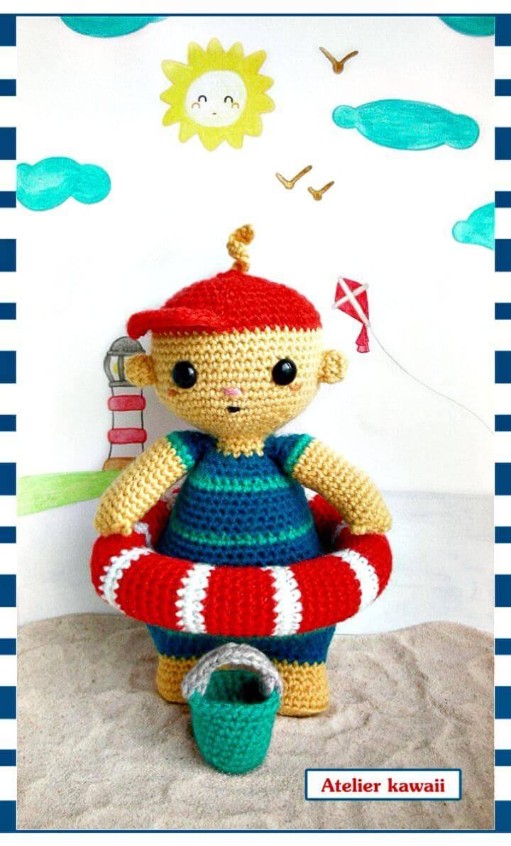 Crochet Toby At The Beach - Free Amigurum Pattern