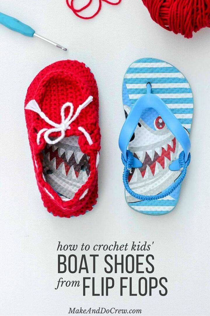 """Easy Crochet Toddler """"Boat Shoe"""" Slippers With Flip Flop Soles – Free Pattern!"""