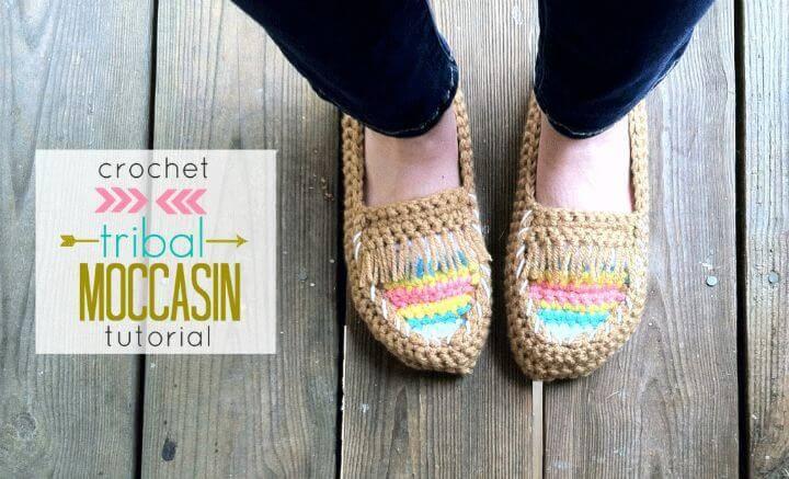 Easy Free Crochet Tribal Moccasin Tutorial