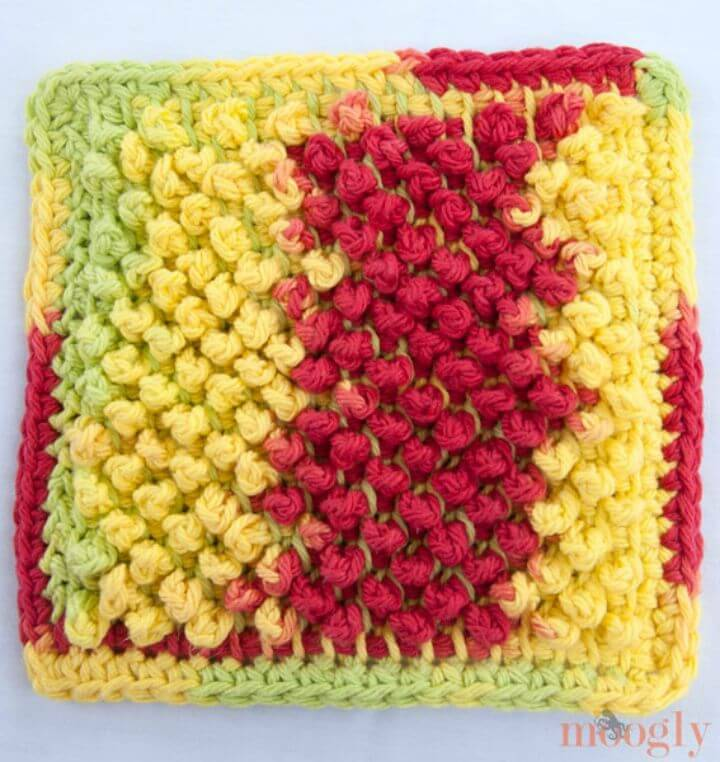 Easy Crochet Tunisian Pebbles Dishcloth - Free Pattern