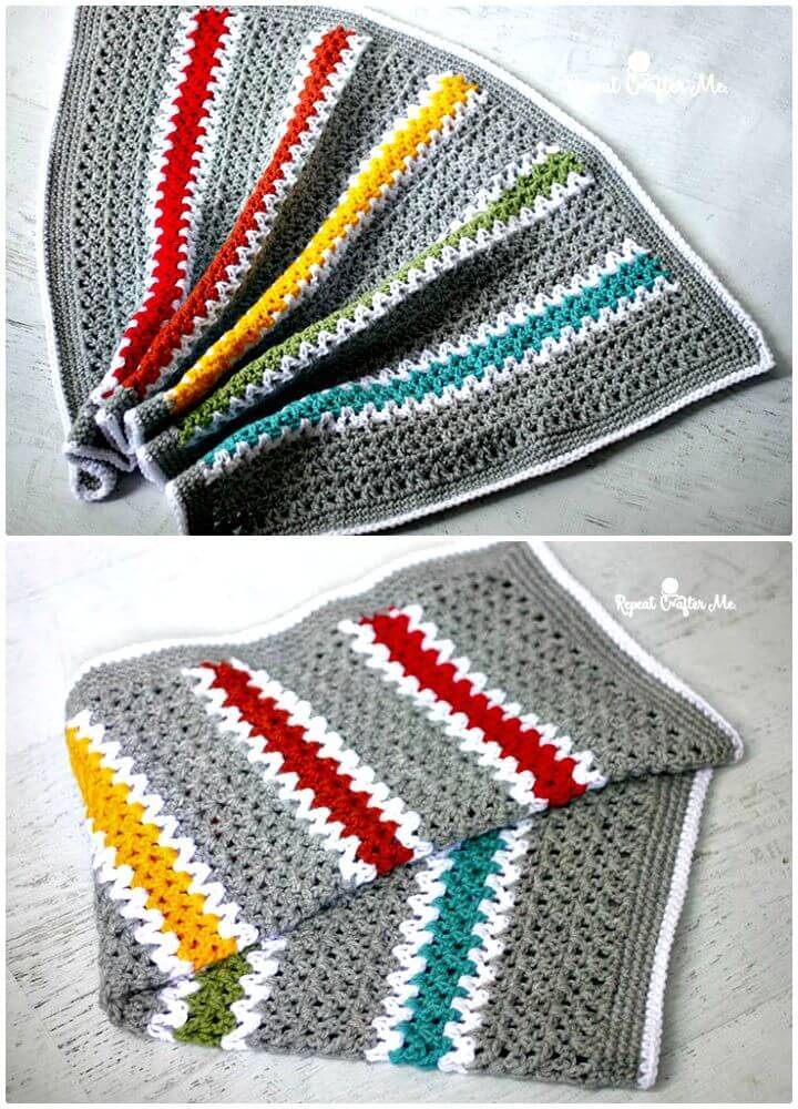 How To Crochet V-Stitch Rainbow Blanket - Free Pattern