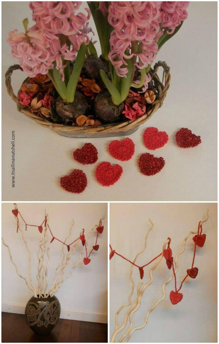Easy Crochet Valentine Heart Garland – Free Pattern