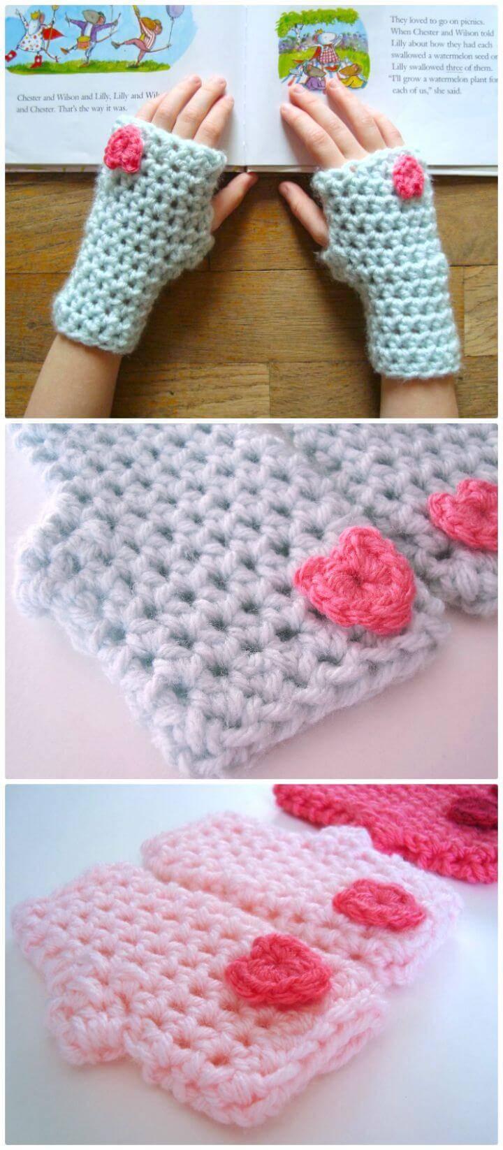 Crochet Valentine Mitts - Free Pattern