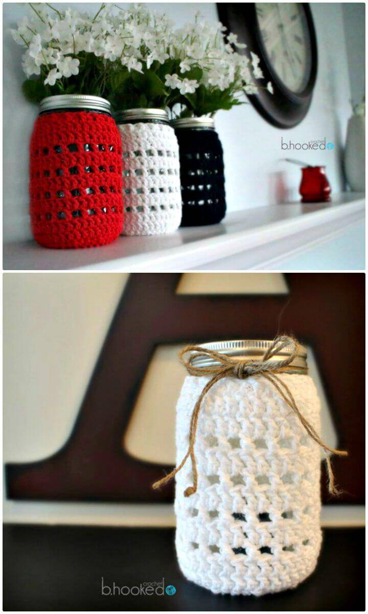 Crochet White Mason Jar Cozy - Free Pattern