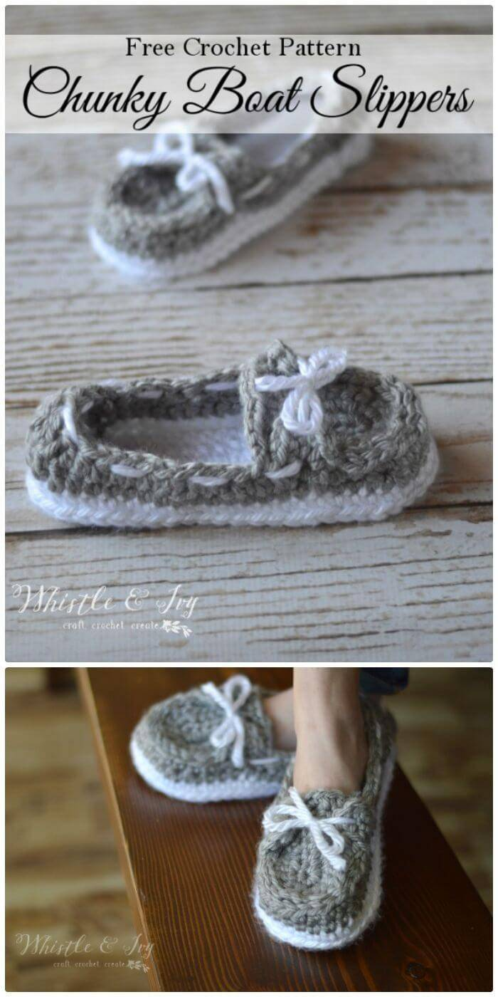 Easy Free Crochet Women's Chunky Boat Slippers