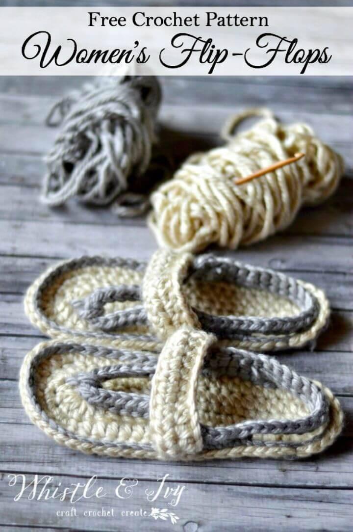 Easy Free Crochet Women's Strap Flip-Flops Summer Slippers