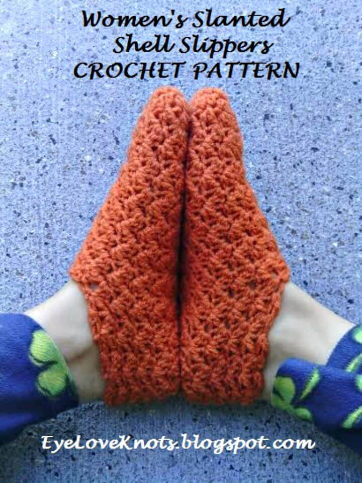 Free Crochet Women's Slanted Shell Slippers Pattern