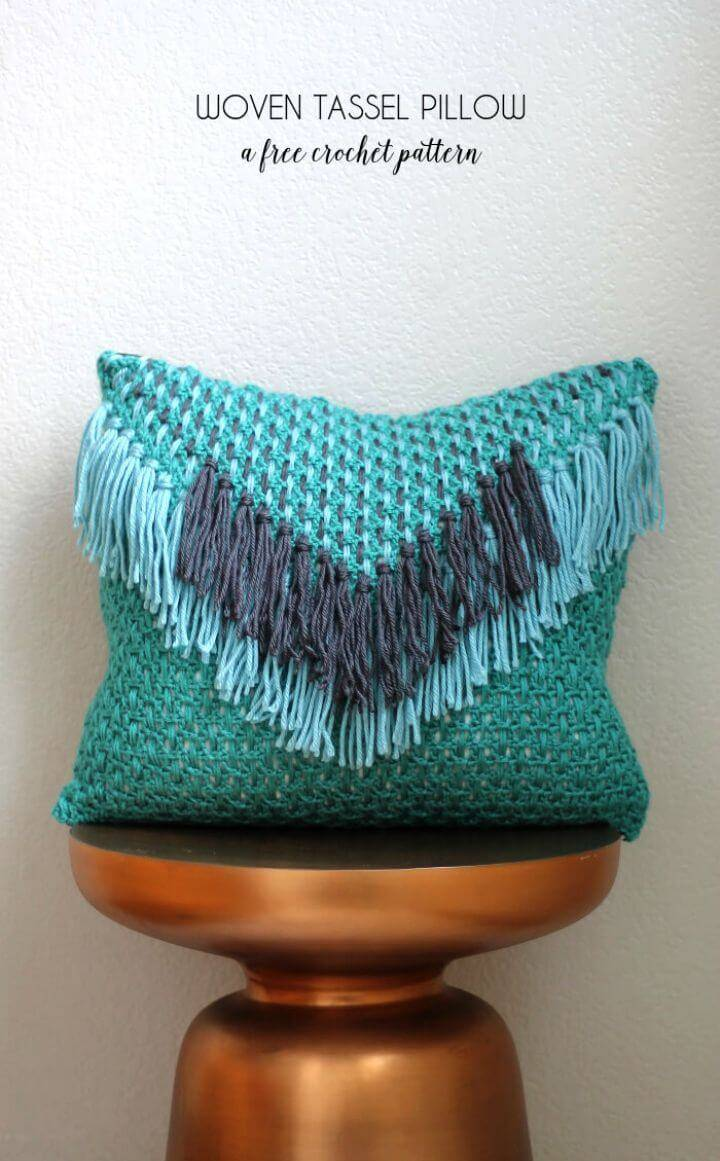 Crochet Woven Tassel Pillow – Free Pattern