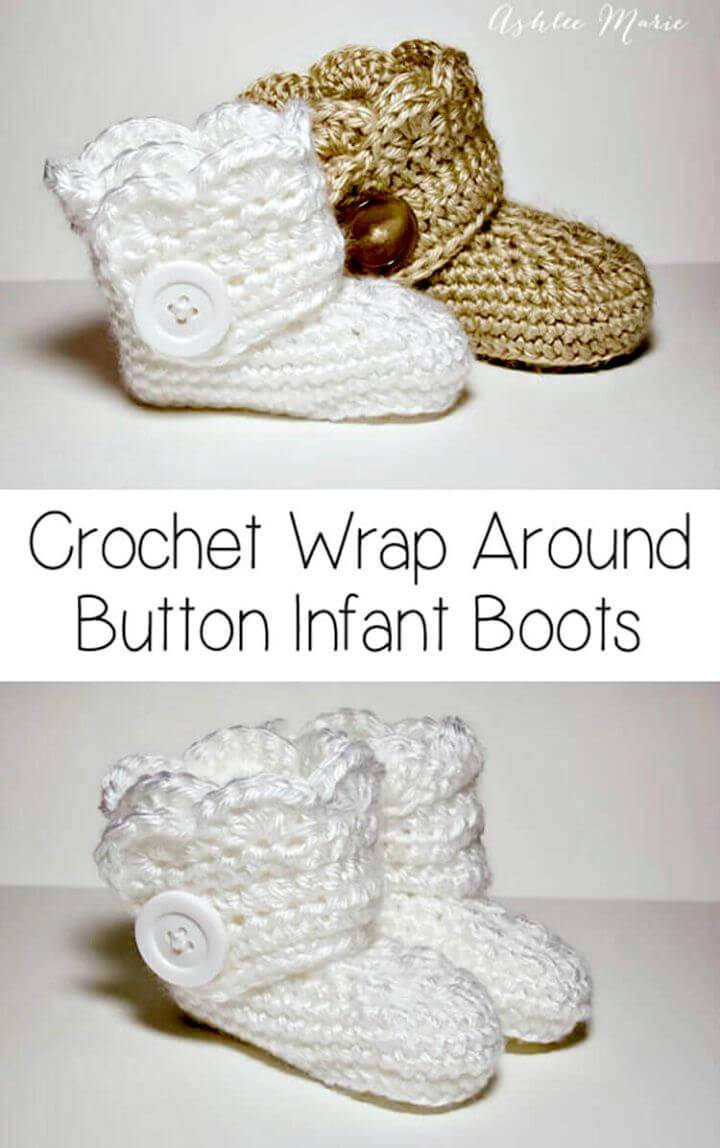 Free Crochet Wrap Around Button Infant Boots - Girls And Boys