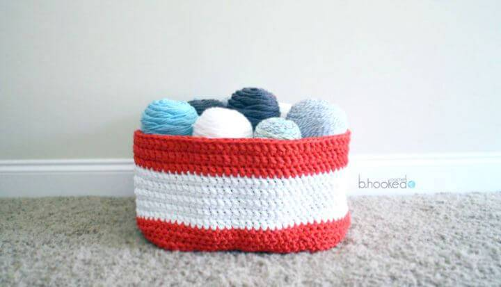 Easy Free Crochet Yarn Stash Basket Pattern