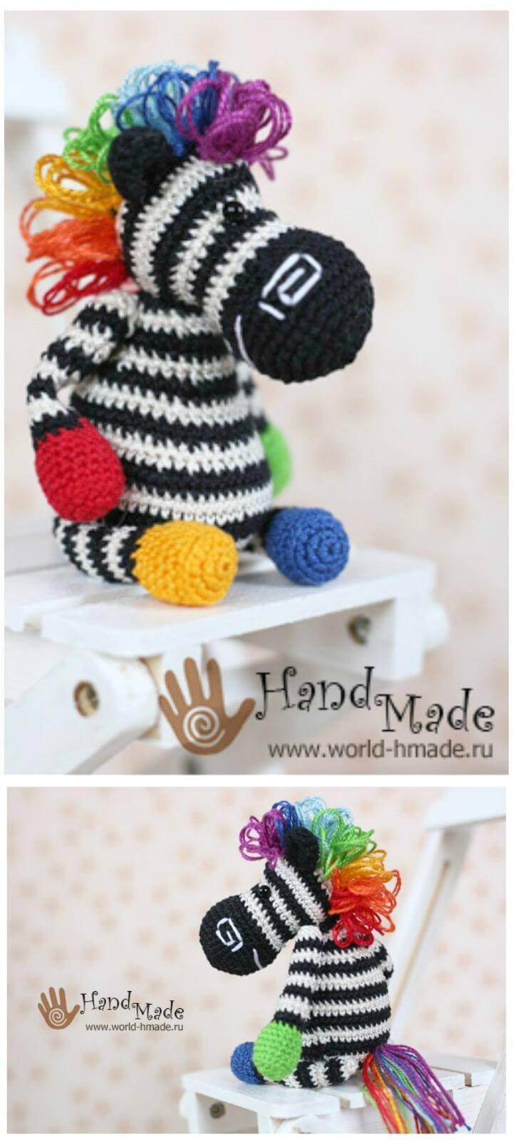 Crochet Zebra Berta With A Rainbow Mane - Free Pattern
