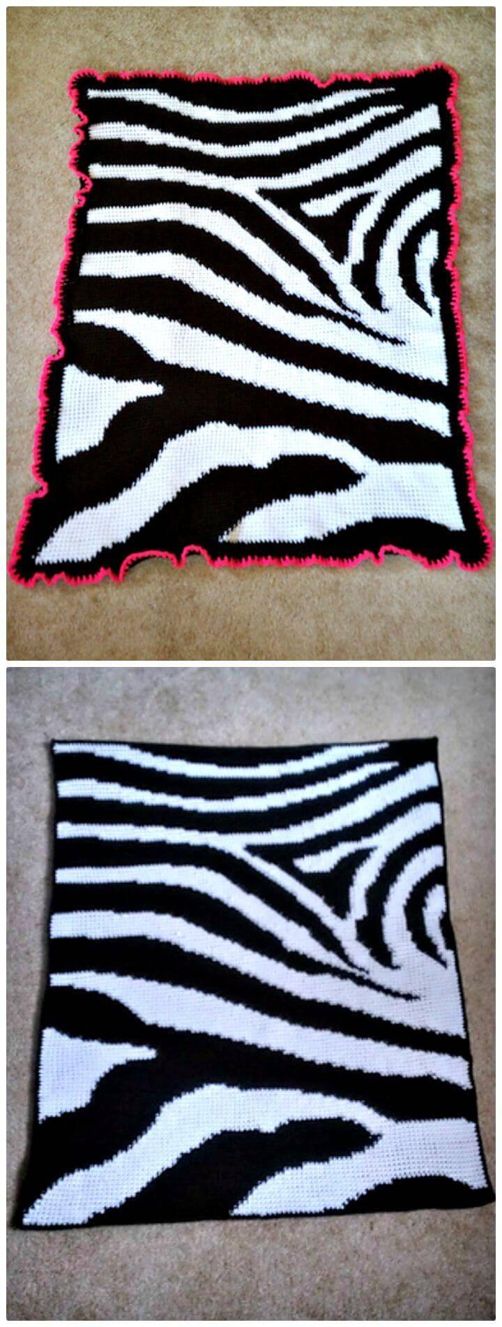 Easy Crochet Zebra Print Baby Blanket - Free Pattern