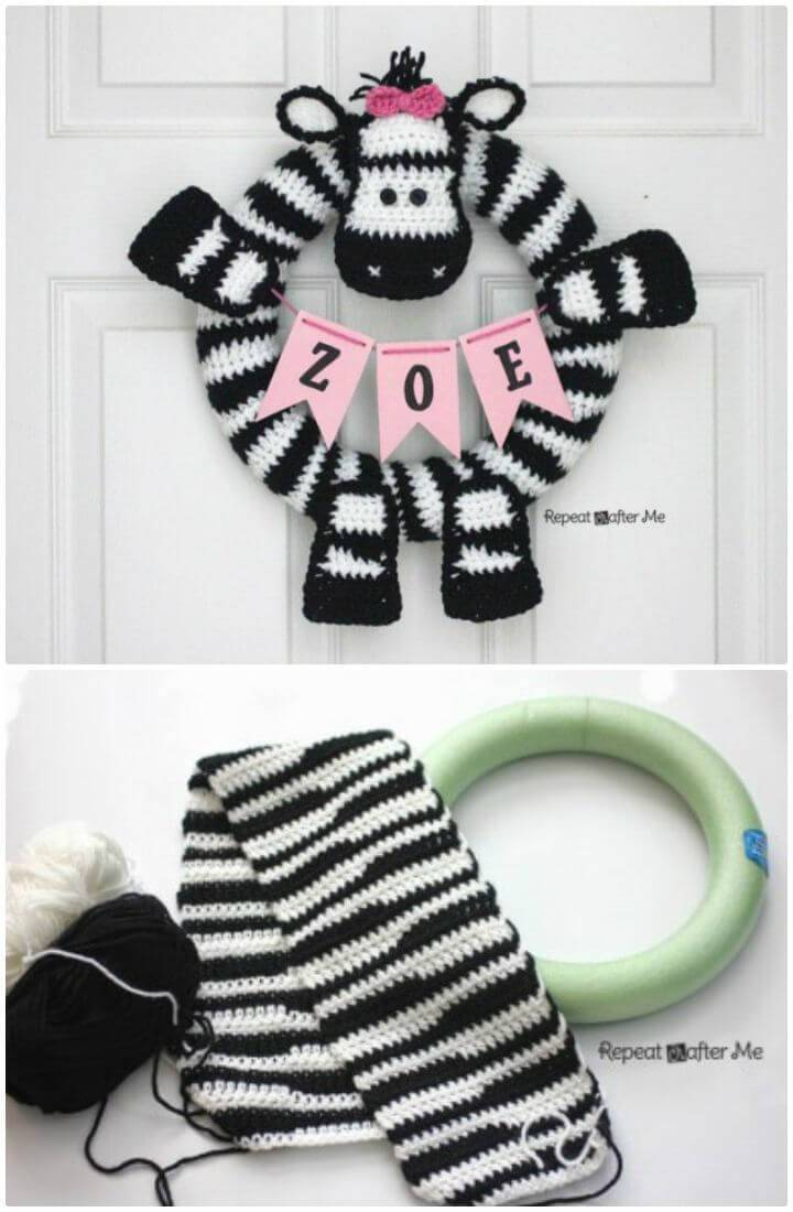 How To Crochet Zebra Wreath - Free Pattern