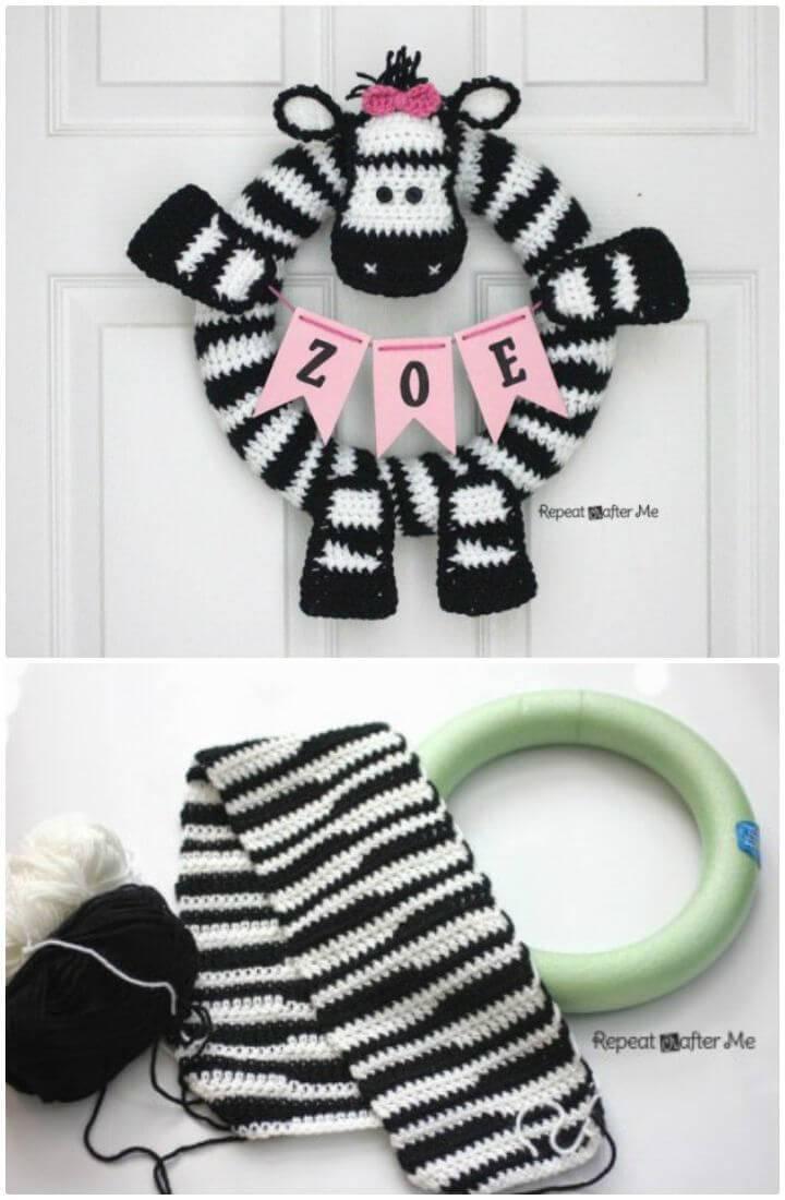 How To Crochet Zebra Wreath - Free Pattern