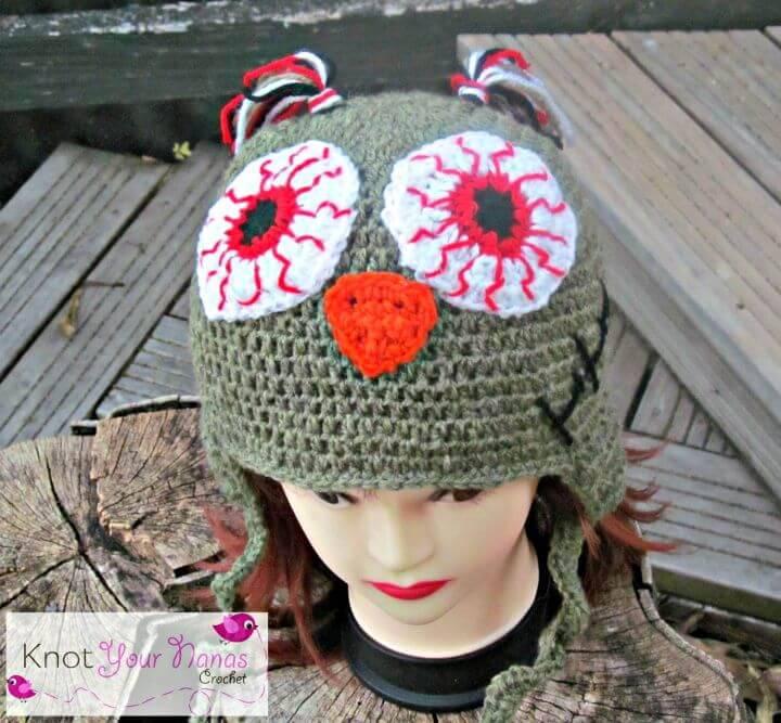 Crochet Zombie Owl Hat - Free Pattern