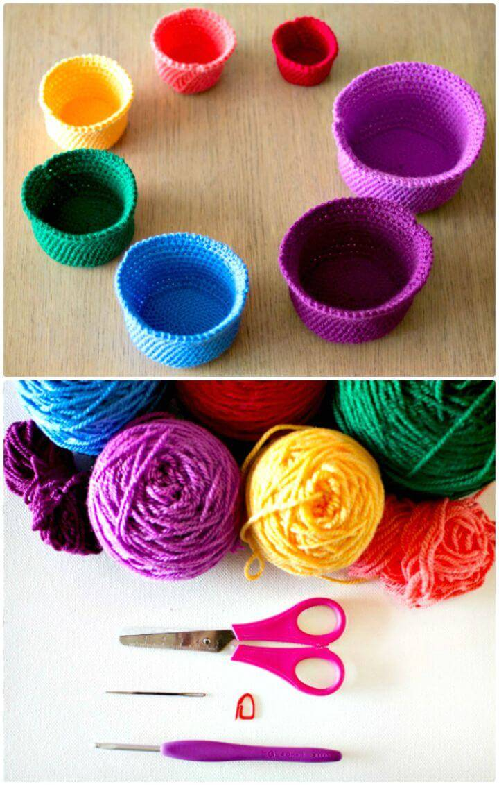 How To Free Crochet a Gorgeous Set of Rainbow Nesting Baskets