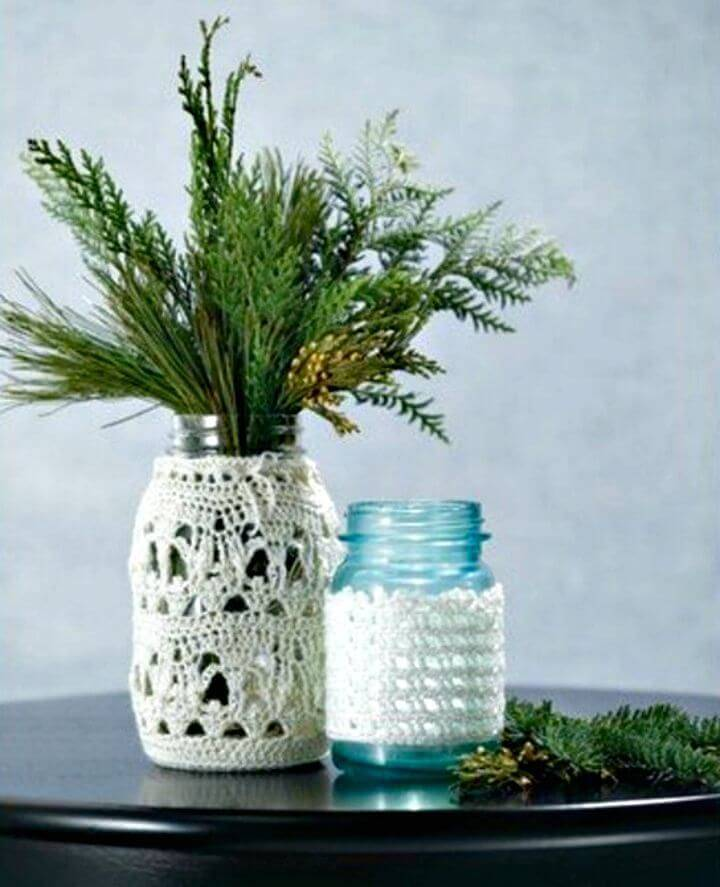 Free Crocheted Lace Jar Covers Pattern