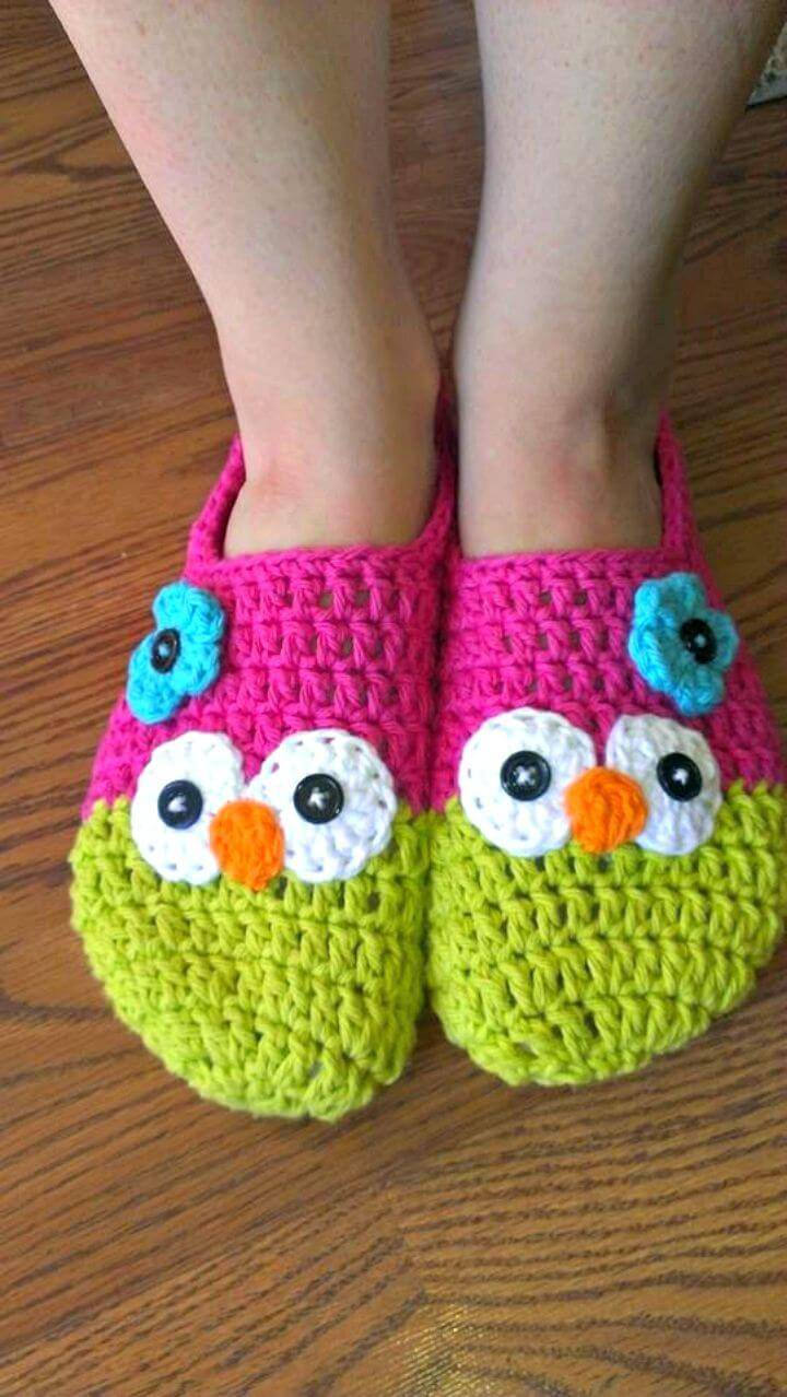 Free Crochet Owl Slippers Pattern