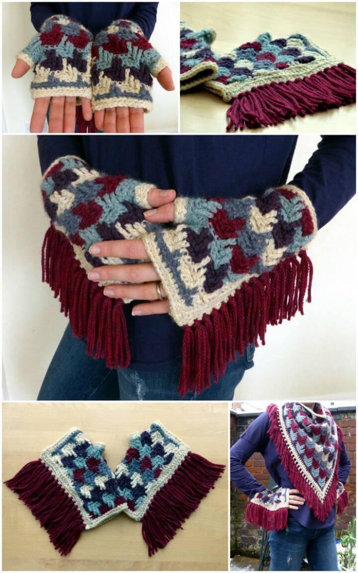 Free Crochet Arrow Tails Finger-less Gloves Pattern