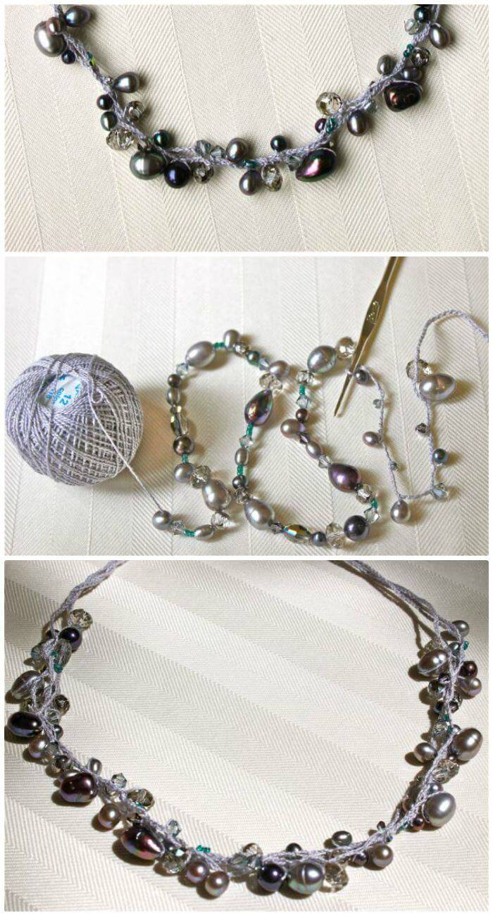 DIY Beaded Crochet Necklace